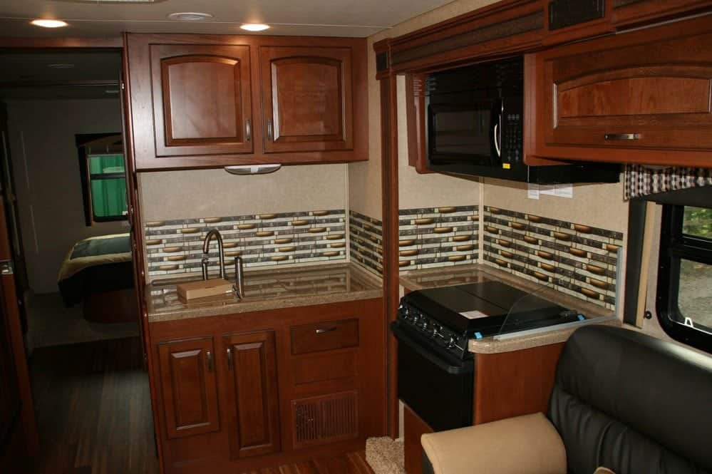 The Jayco Greyhawk kitchen area