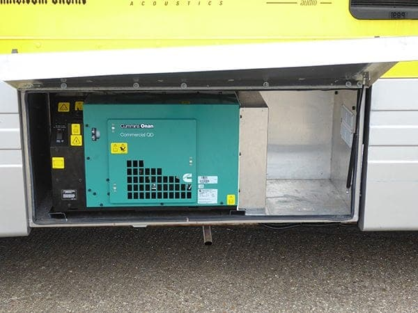 5HDKBB generator fitted with mountings attached to the vehicles chassis.