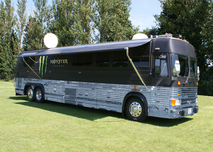 Outside view of the finished Monster Energy Event RV