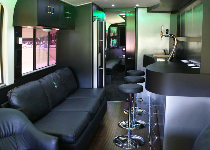Inside the RV viewing the Bar and seating area