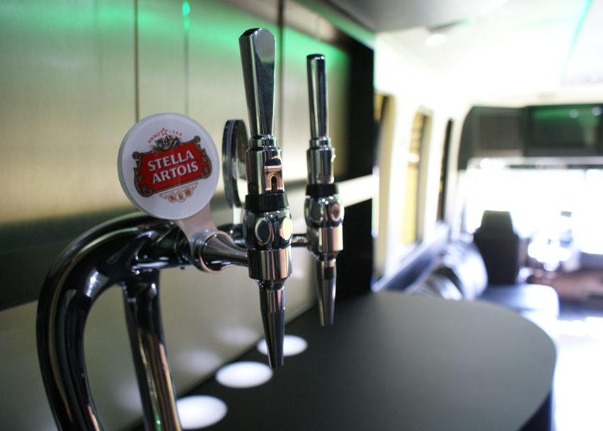 closeup of the beer taps in the motorhome