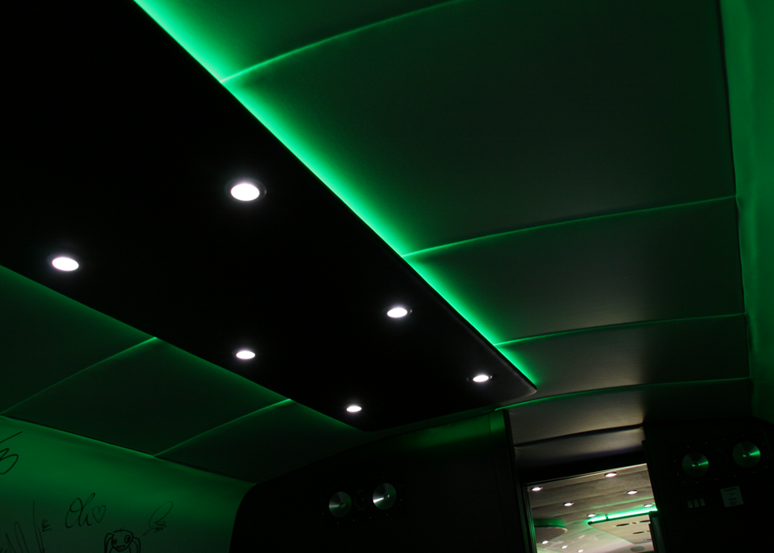 closeup of the green led lighting in the chillout area at the back of the motorhome