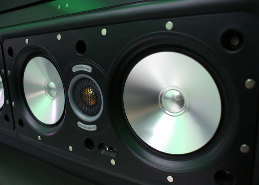 closeup of one of the speakers from the entertainment system